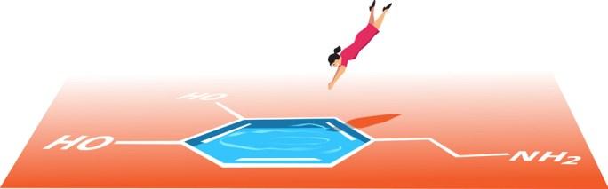 Mulher pulando de cabeça primeiro em uma piscina em forma de molécula de dopamina (Aleutie) S