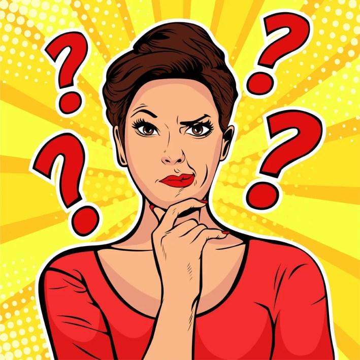 As expressões faciais céticas da mulher enfrentam com pontos de interrogação em cima da cabeça (Brazhyk) s