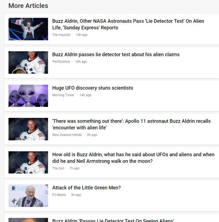 google news aldrin aliens