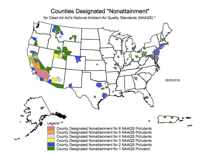 air pollution US nonattainment