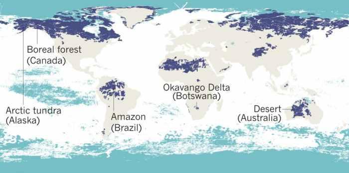 The world's remaining wilderness. Dark blue = terrestrial. Light blue = marine (Modified from Watson et al, Nature 2018)