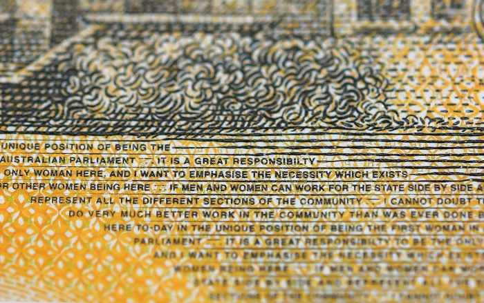 A magnified view of a 50 Australian dollar note containing a typo. (Dylan Coker/EPA-EFE/REX)