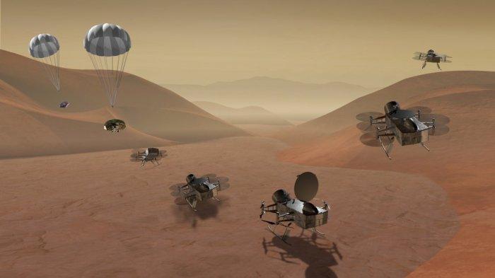 Dragonfly visiting sampling location on Titan. (NASA)