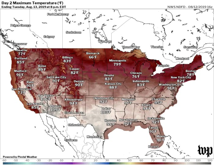 High temperatures forecast for Tuesday. (The Washington Post)
