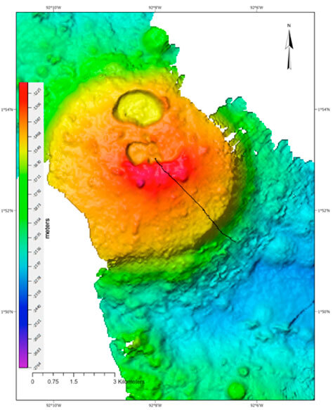 Newly mapped seamount. Black line represents the ROV traversed area. (Ocean Exploration Trust/Nautilus Live)