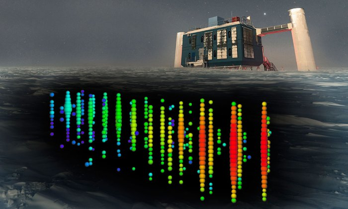 IceCube neutrino Detector in Antarctica searches for WIMPs. (IceCube Collaboration/NSF)