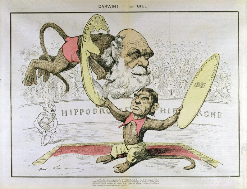 Caricature by André Gill of Charles Darwin and Émile Littré depicted as performing monkeys at a circus breaking through gullibility (credulité), superstitions, errors, and ignorance.