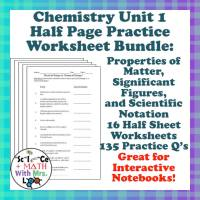 Chemistry Worksheet 1 Matter Measurement