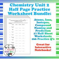 Chemistry Worksheets 2 Atoms Molecules