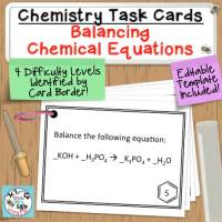Balancing Equations Chemistry Task Cards