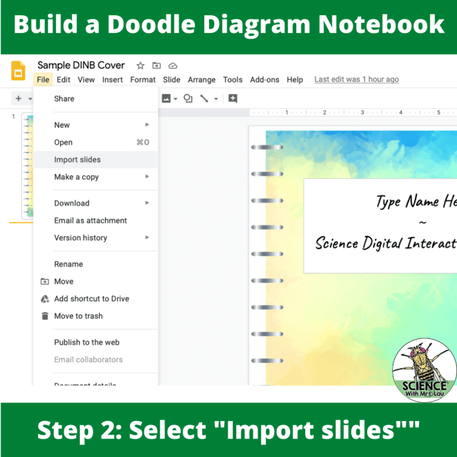 Importing pages into google slides for your digital notebook 1