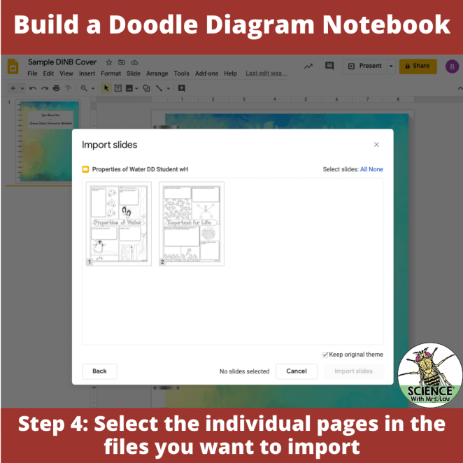 Select individual pages to import into your digital doodle diagram notebook