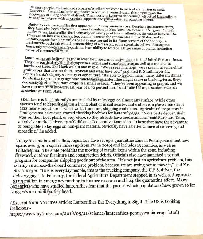 Article I printed out about lanternflies to use for science blackout poetry