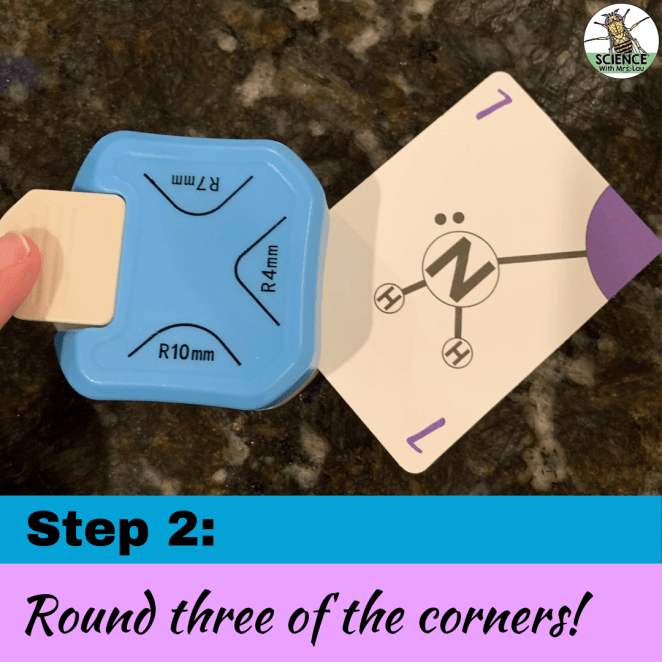 Using a corner rounder for educational game cards