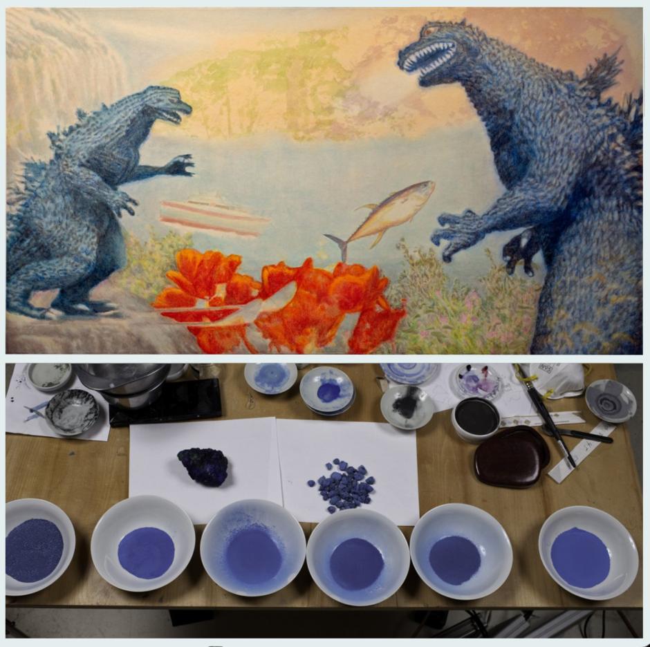 Craig Nagasawa - painting with natural pigments
