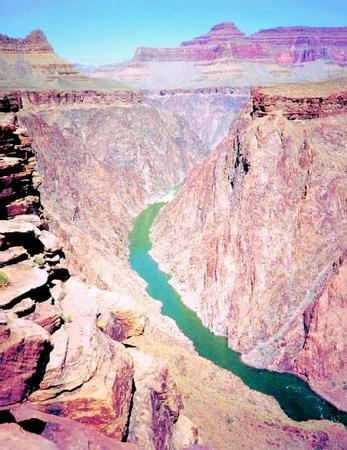 Inner gorge of the Grand Canyon, located in northwestern Arizona. Carved by the power of the Colorado River, the canyon stretches for 277 miles. PHOTOGRAPH REPRODUCED BY PERMISSION OF HENRY HOLT AND COMPANY.