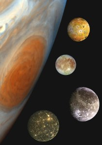 jupiter and four of its galilean moons