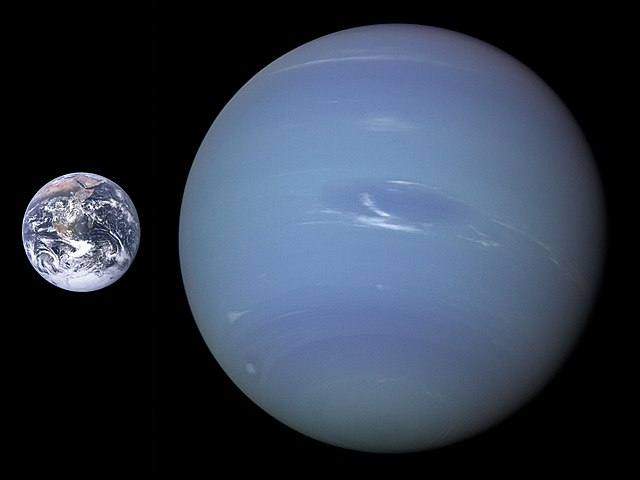 comparison of Neptune to Earth