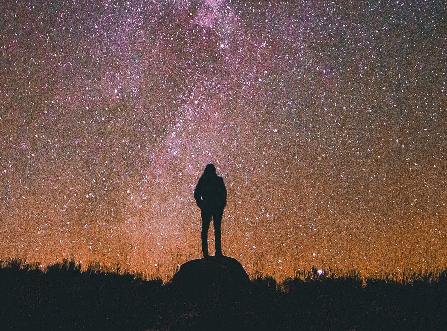 human standing against night sky