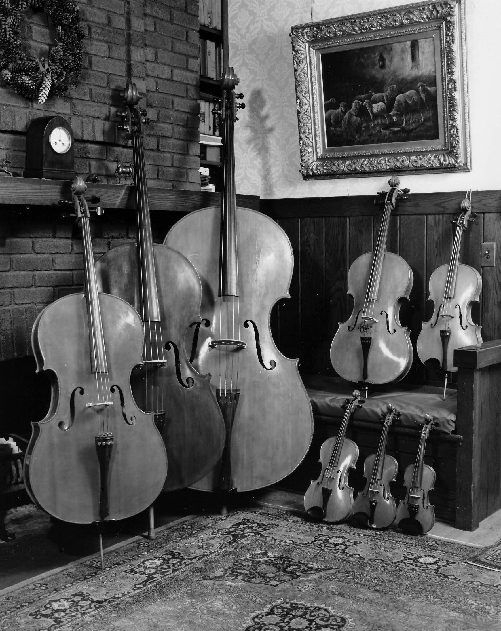 Carleen Hutchins' violin octet: a family of eight violins spanning the tonal range of a piano. Courtesy of the Hutchins estate