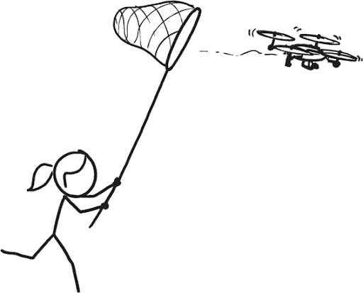 a black and white hand drawn comic of a stick figure person with a ponytail holding a net. the person is chasing after a flying drone