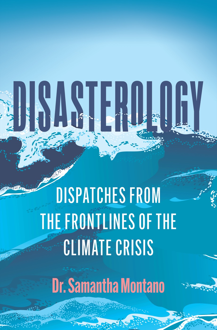 a book cover with illustration of a violent ocean with words 'Disasterology: Dispatches from the Frontlines of the Climate Crisis by dr. samantha montano'