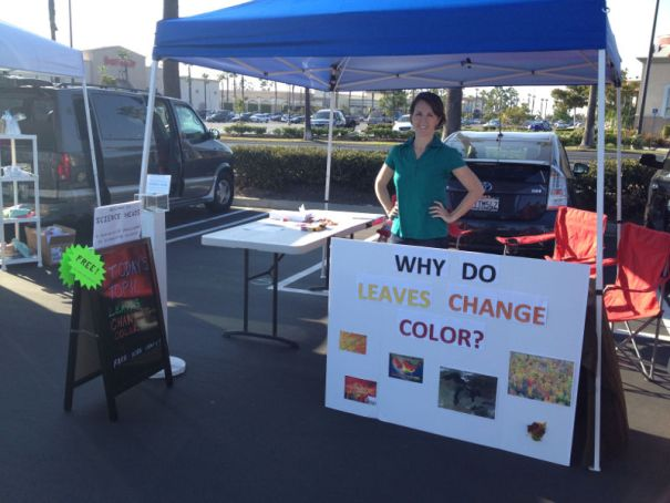 Our booth at the Foothill Ranch Farmer's Market. Topic for the day was fall colors.