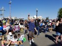 The crowd outside the Museum of Idaho in Idaho Falls watches the progress of the eclipse.
