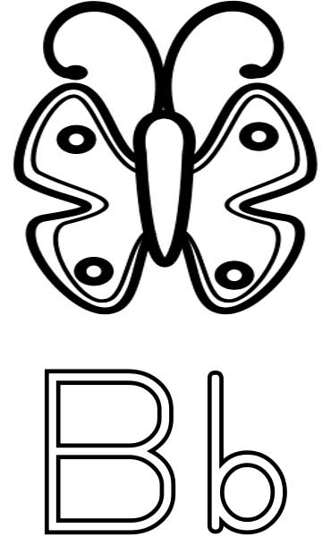 the letter b  coloring page for kids  free printable picture