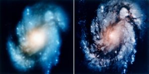 mage of the M100 galaxy before and after the Hubble repair