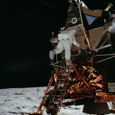 Buzz Aldrin descending from the Lunar module (nasa.org)