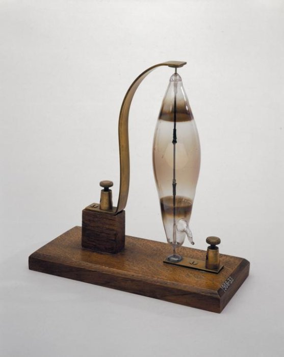 Early light bulb on a wooden base