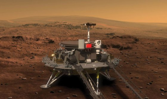illustration of China's lander and rover on surface of Mars