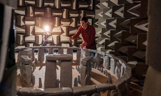 Trevor Cox with Stonehenge model