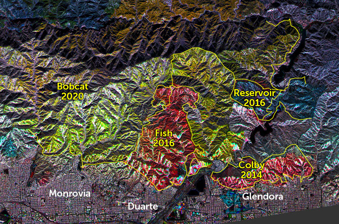 map of vegetation changes near Los Angeles in 2010, 2017 and 2020