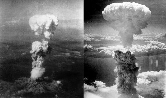 black and white photos of the atomic bomb explosions
