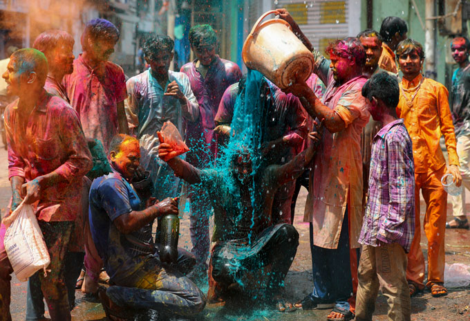 people participating in Holi