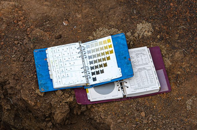 two binders lay in the dirt