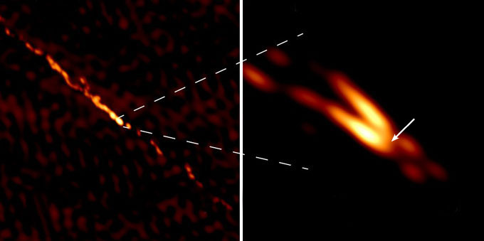 images of jets from the black hole in the galaxy Centaurus A