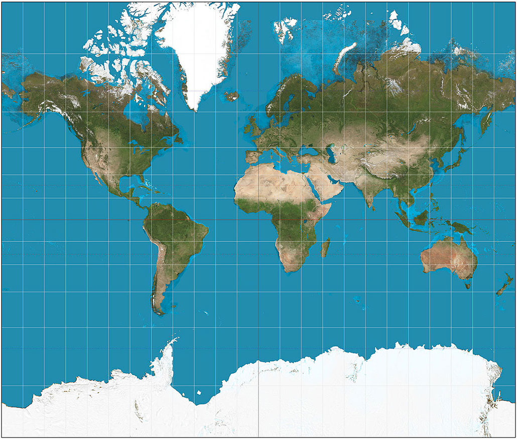 a Mercator projection map
