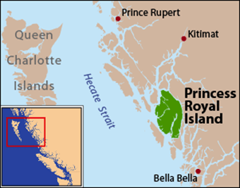 a map of the West Coast of Canada showing Princess Royal island