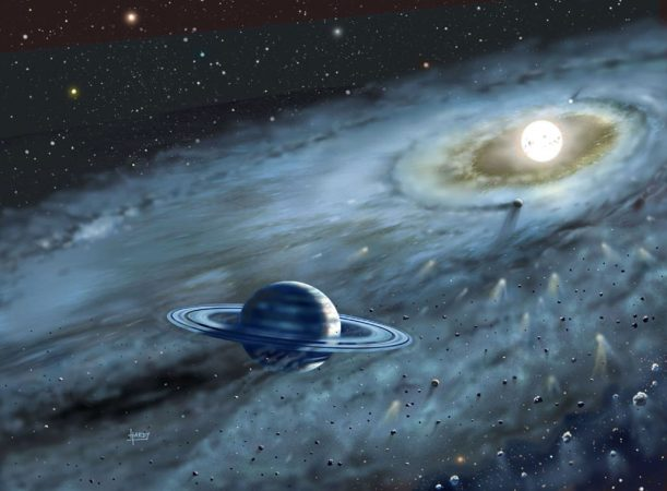 a painting of a gas planet with rings and its star