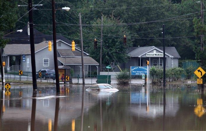 A flooded Atlanta road in September 2009