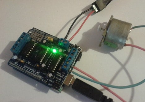 arduino motor shield with dc motor