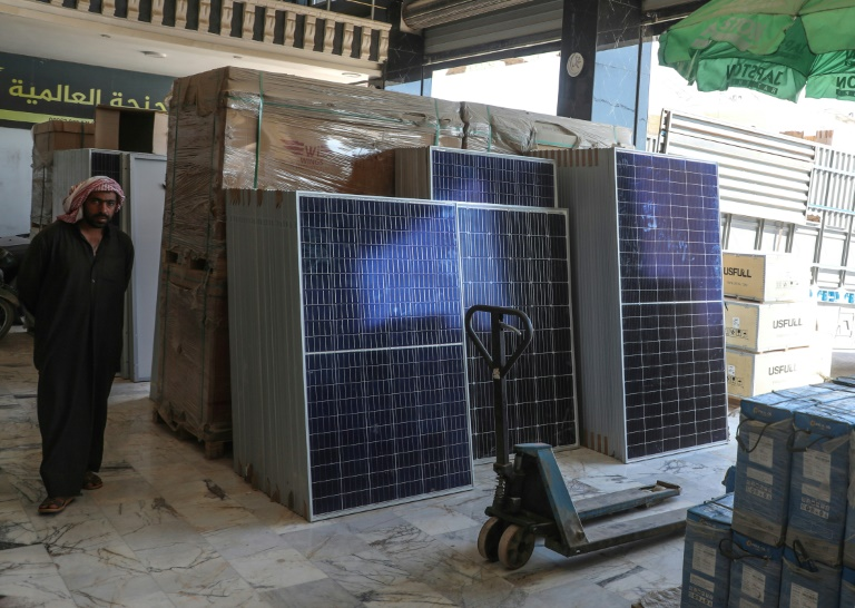 Photovoltaic panel shop in Al-Dana, in the province of Idleb in northwestern Syria, June 10, 2021 (AFP - Aaref WATAD)