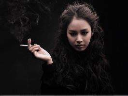 Girl Is Smoking Bad Habit