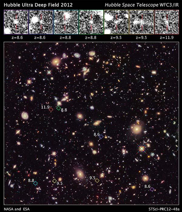 De zeven primitieve sterrenstelsels. Foto: NASA, ESA, R. Ellis (Caltech), UDF 2012 Team.
