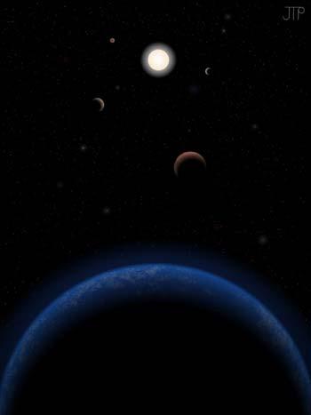 Een artistieke impressie van Tau Ceti en de planeten. Afbeelding: J. Pinfield voor het RoPACS network, University of Hertfordshire, 2012.