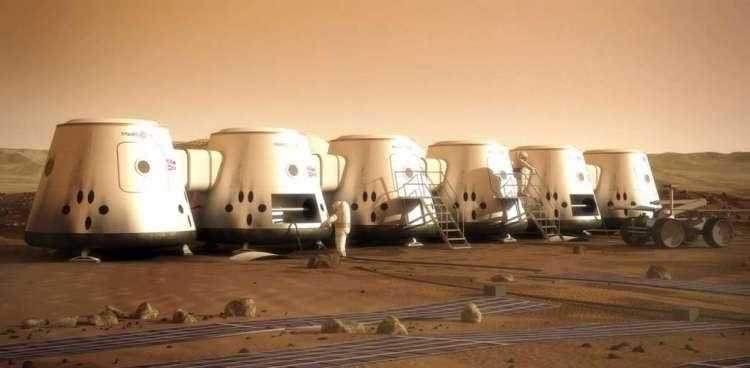 De nederzetting die Mars One voor ogen heeft. Afbeelding: Marsone.com.
