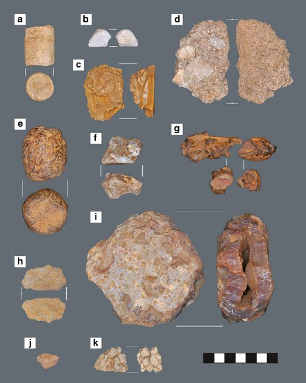 De twaalf stenen (met verschillende aanzichten). Afbeelding: A 4,000-year-old shaman's stone cache at Casita de Piedra, western Panama / DOI 10.1007/s12520-012-0112-5.